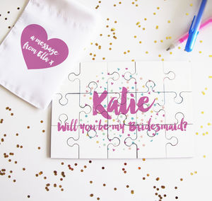 Personalised Will You Be My Bridesmaid Confetti Puzzle - be my bridesmaid?