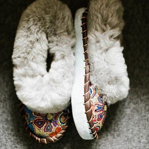 Mosaic Grey Sheepskin Slippers - lingerie & nightwear
