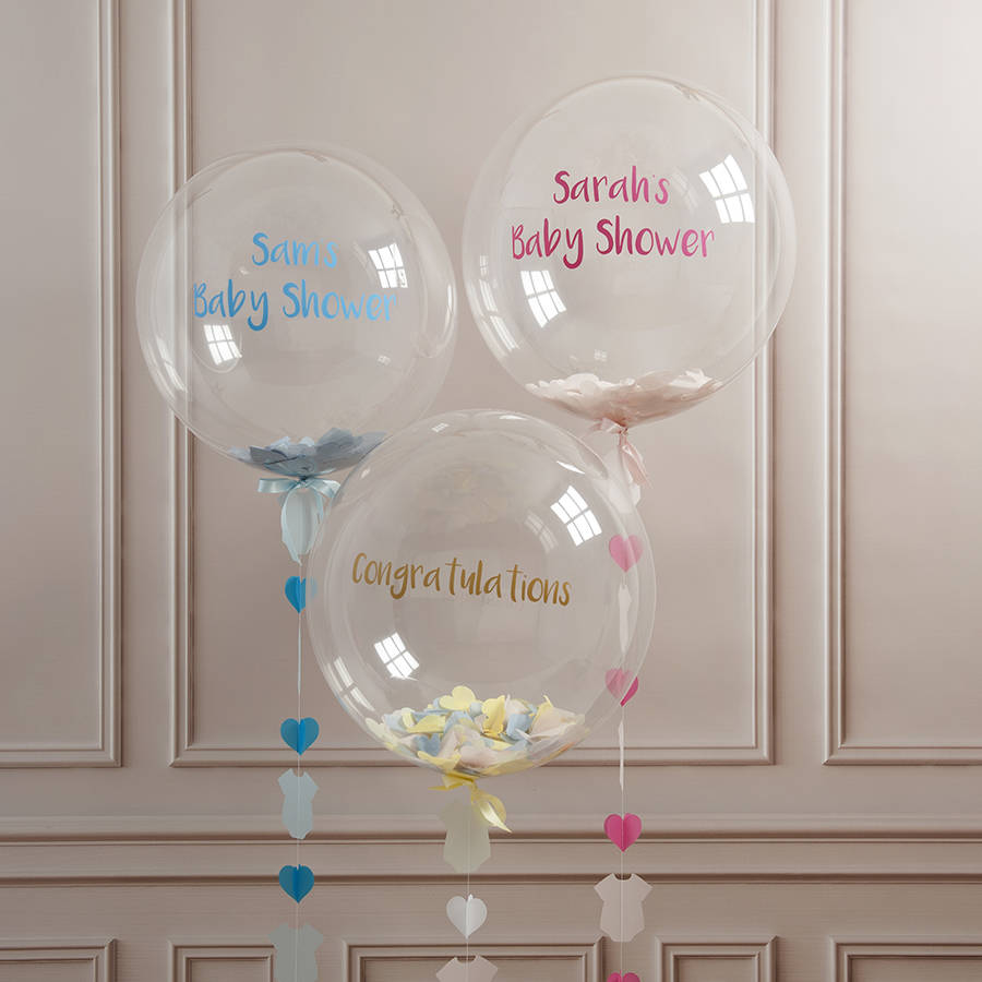 Personalised baby shower confetti balloon by bubblegum for Balloon decoration for a baby shower