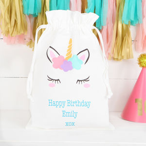 Personalised Unicorn Cotton Drawstring Bag