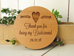 'Thank You' Wooden Backed Mirror - bridal party beauty