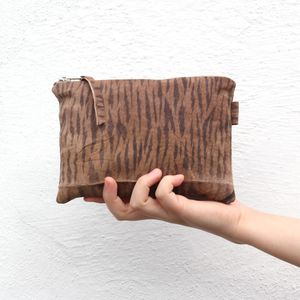 Reclaimed Suede Medium Zip Pouch