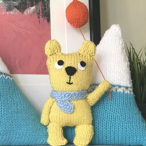 Happy Teddy With Balloon Knitting Kit