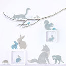Woodland Animal Wall Stickers In Blue And Grey