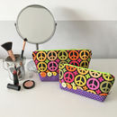 Peace Sign Printed Fabric Make Up Bag