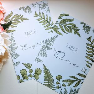 Set Of 12 Botanical Table Names Or Numbers