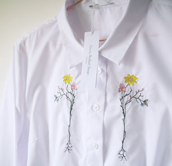 Embroidered Spring Flowers Shirt Handmade