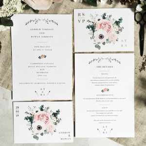 Peony Wedding Invitation Set - order of service & programs
