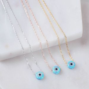 Mini Opalite Evil Eye Necklace