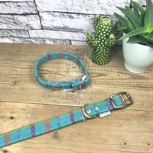 Sky Blue Harris Tweed Dog Collar - new in pets