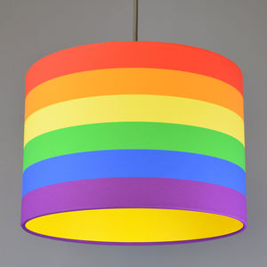 Rainbow Stripe Drum Lampshade Choice Of Lining - lamp bases & shades