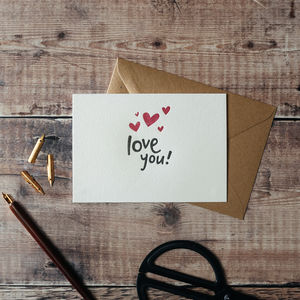'Love You!' Letterpress Card - valentine's cards