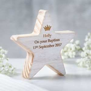 Personalised Children's Christening Star With Crown