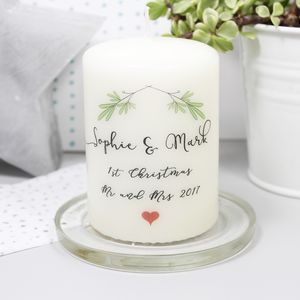Personalised First Christmas As Mr And Mrs Candle - candles & candlesticks