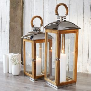 Tall Wood Candle Lantern Reclaimed - candles & home fragrance