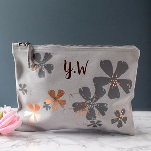 Personalised Rose Gold Floral Make Up Bag - new in health & beauty
