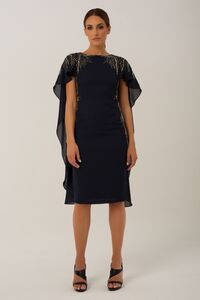 Navy Eva Cape Midi Dress