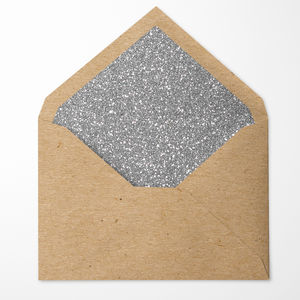 Silver Glitter Lined Envelopes. Pack Of 10 - card crafting