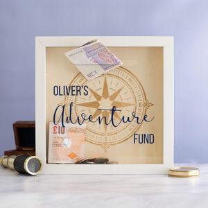Personalised Adventure Fund Money Box Frame - what's new