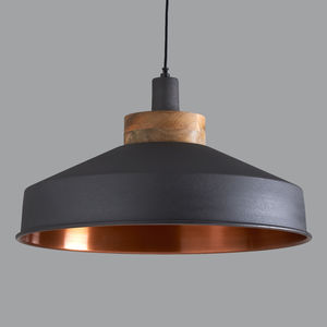 Cosmos Graphite And Copper Pendant Light - furnishings & fittings