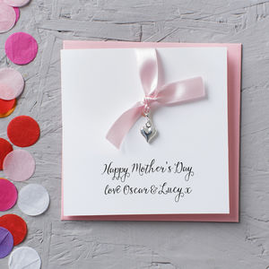 Personalised Silver Heart Charm Mother's Day Card - mother's day cards