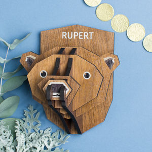 Personalised Wood Bear Head Decoration - sculptures