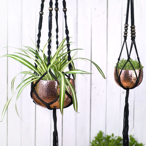 Black Macrame Hanger With Copper Bowl - on trend: indoor gardens