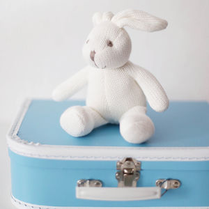 Organic Soft Knit Baby Bunny Bell Rattle - new baby gifts