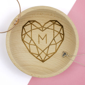 Personalised Jewelled Heart Wooden Jewellery Dish