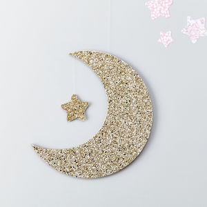 Gold Glitter Moon Wall Hanging - more