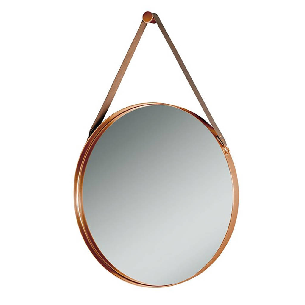 Round copper and leather hanging wall mirror by i love for Hanging mirror