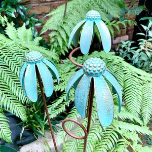Set Of Three Iron Echinacea Flower Stakes