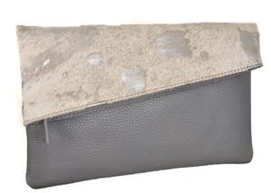 Silver And Winter White Leather Clutch - evening bags