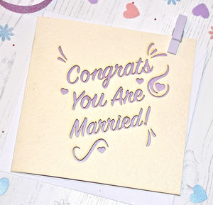 Laser Cut 'Congrats You Are Married' Card - summer sale