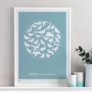 'Birds Around Britain' Screen Print - valentine's gifts for him