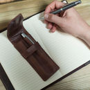 Pen Pencil Set With Personalised Vintage Leather Case