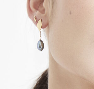 Rita Gold And Blue Pearl Earrings