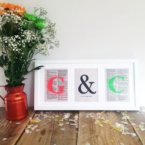 Personalised Wedding Anniversary Typography Print - mixed media & collage