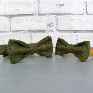 Dad And His Dog Bow Tie Set Yorkshire Birdseye Tweed