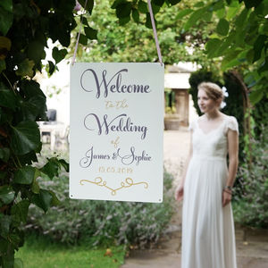 Personalised Classic Wedding Welcome Sign - art & decorations