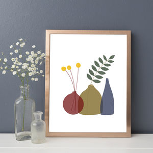 'Billy Buttons' Still Life A4 Art Print - drawings & illustrations