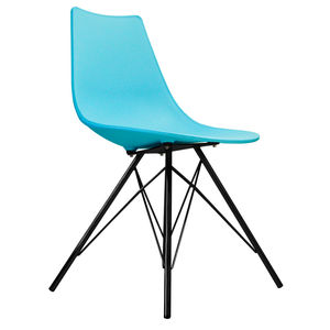 Oslo Chair Pearl Blue With Black Metal Legs - dining room