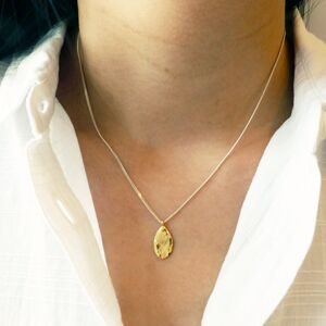Hammered Gold Teardrop Necklace