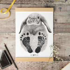 Personalised Baby Rabbit Footprint Kit - drawings & illustrations