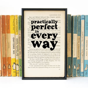 'Practically Perfect' Mary Poppins Book Page Print - film & tv