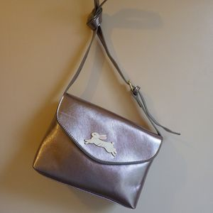 Metallic Silver Rabbit Charm Handbag - bags & purses
