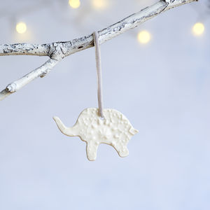 Porcelain Christmas Elephant Decoration
