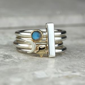 Moon And Star Maxi Stacking Ring Set - rings