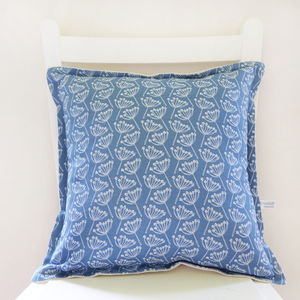 French Blue Cow Parsley Linen Cushion