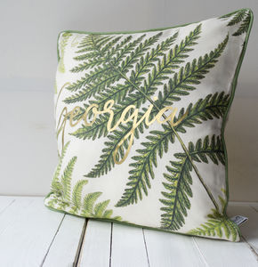 Metallic Leaf Pattern Cushion